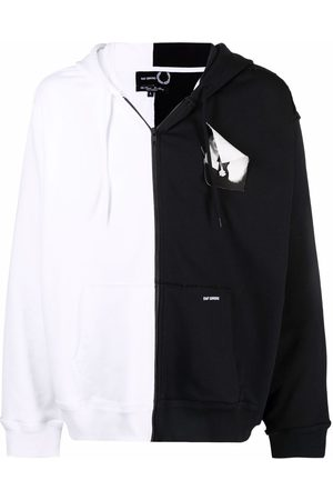 Fred Perry X Raf Simons printed patch zip-through hoodie