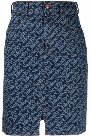 See by Chloé Women Printed Skirts - All over logo-print denim skirt