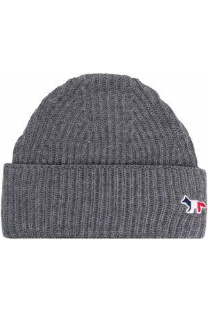 Maison Kitsuné Beanies - Ribbed-knit beanie - Grey