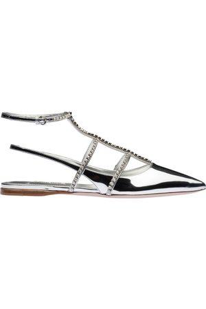 Miu Miu Women Sandals - Crystal-embellished slingback sandals - Metallic