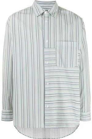 FIVE CM Stripe-panelled long-sleeve shirt