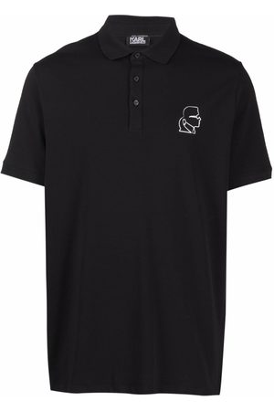 Karl Lagerfeld Embroidered piqué polo shirt