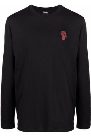 Karl Lagerfeld Men Sweatshirts - Logo-appliqué cotton-jersey sweatshirt