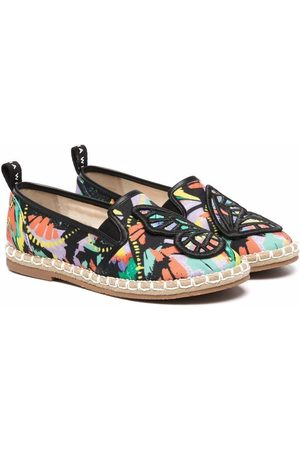 SOPHIA WEBSTER Butterfly-embroidered abstract-print espadrilles