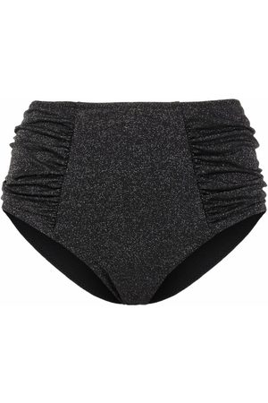 Ganni Metallic threading high-waisted bikini bottoms