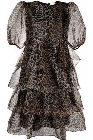 Ganni Puff-sleeves tiered dress - Neutrals