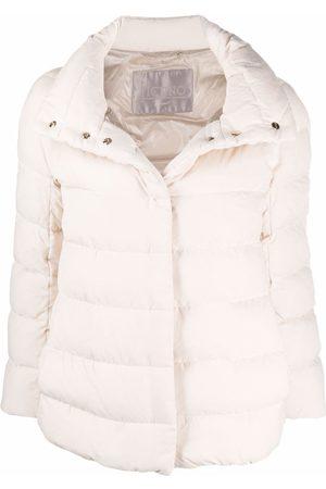 HERNO Wide-neck suede-effect jacket - Neutrals