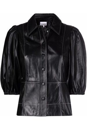 Ganni Puff-sleeve leather shirt