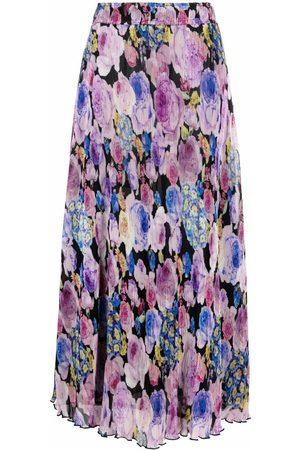 Ganni Women Printed Skirts - Floral-print pleated midi skirt