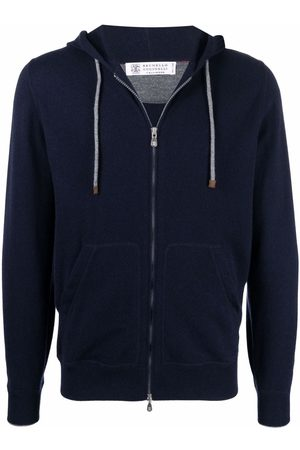 Brunello Cucinelli Men Hoodies - Drawstring zipped cashmere hoodie