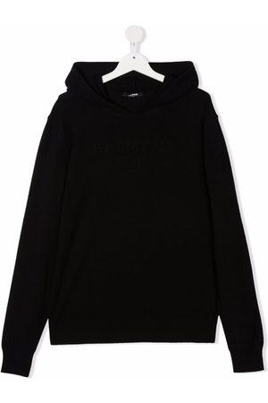 Balmain Hoodies - TEEN raised-logo knitted hoodie