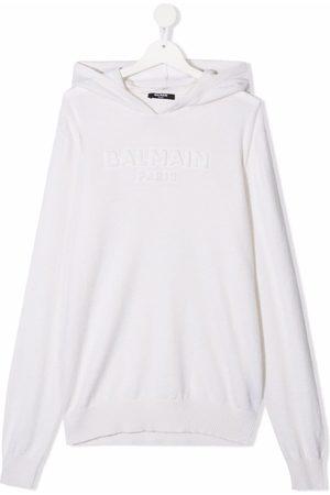 Balmain TEEN raised-logo knitted hoodie - Neutrals