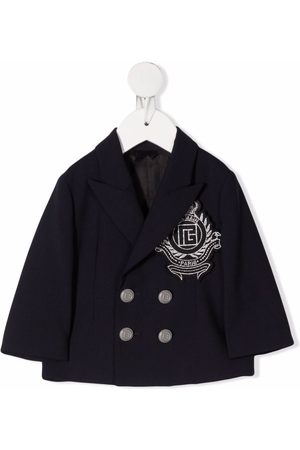 Balmain Blazers - Double-breasted logo-embroidered jacket