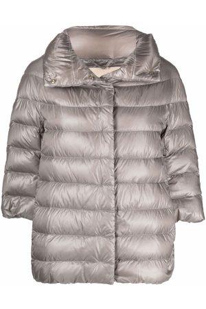 HERNO Three-quarter sleeve puffer jacket - Grey