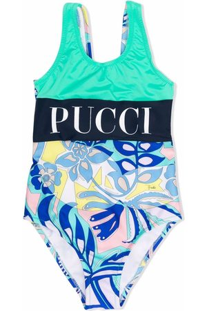 Emilio Pucci Colour-block logo print swimsuit