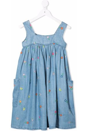 Stella McCartney Girls Printed Dresses - Floral-embroidered dress
