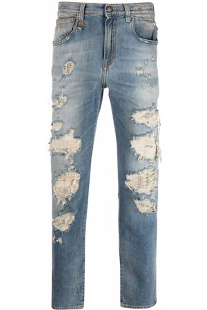 R13 Distressed-effect straight-leg jeans