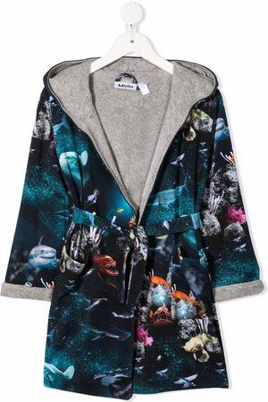 Molo Deep Sea-print organic cotton bathrobe
