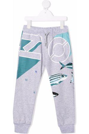 Kenzo Tiger-motif track pants - Grey
