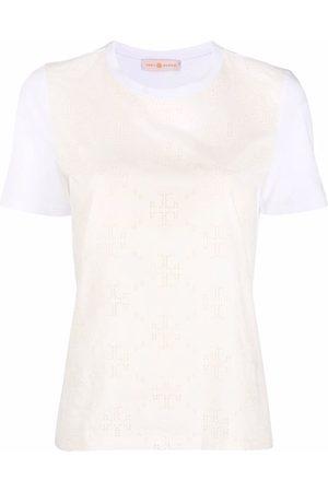 Tory Burch Monogram-print short-sleeved T-shirt - Neutrals