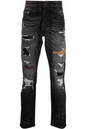 R13 Distressed-finish straight-leg jeans - Grey