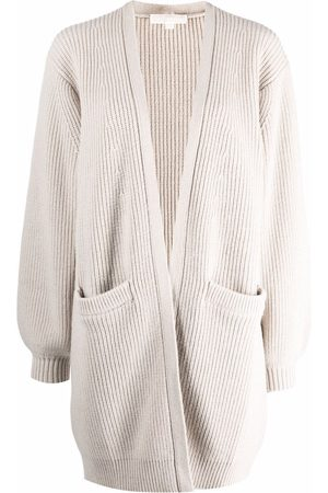 Michael Kors Women Cardigans - Ribbed knitted cardigan - Neutrals