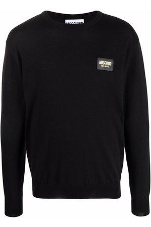 Moschino Logo-patch crew neck sweater