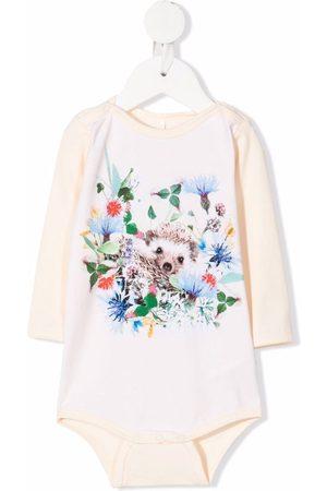 Molo Kids Mini Hedgehog-print stretch-organic cotton body - Neutrals