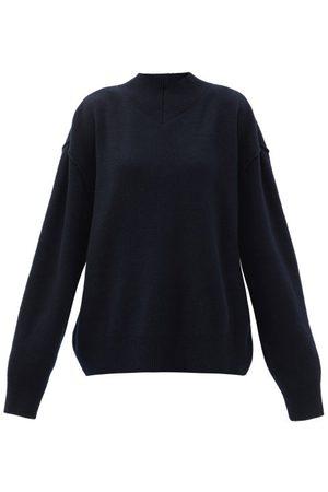 Raey Responsible-wool Displaced-sleeve V-neck Sweater - Womens - Dark Navy