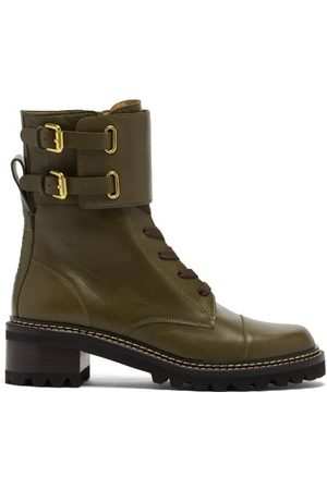 See by Chloé Mallory Buckled-strap Leather Boots - Womens - Khaki