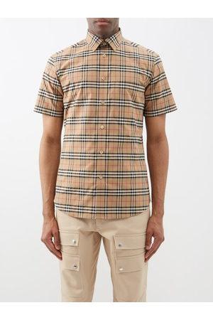 Burberry Simpson Check Cotton-blend Poplin Shirt - Mens