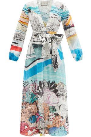 Mary Mare Ithaki V-neck Scenic-print Linen Dress - Womens - Multi