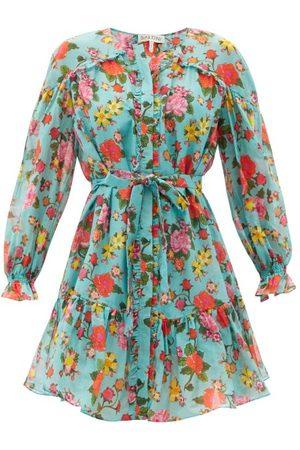 SALONI Women Party Dresses - Pixie Dahlia-print Cotton-voile Mini Dress - Womens - Multi