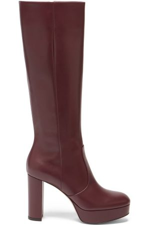 Gianvito Rossi Platform Leather Knee-high Boots - Womens - Burgundy