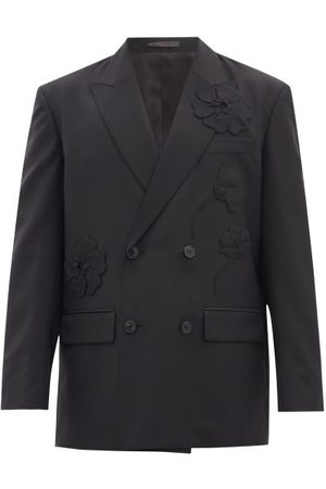 VALENTINO Double-breasted Wool-blend Crepe Suit Jacket - Mens