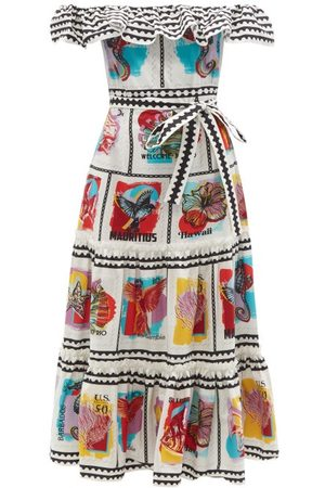 Mary Mare Cannes Tiered Stamp-print Cotton-blend Dress - Womens - Multi