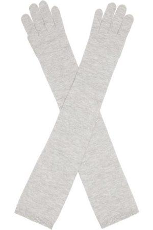 Brunello Cucinelli Long Knitted Gloves - Womens - Light Grey