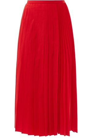 Valentino Pleated Cotton-blend Micro-faille Skirt - Womens