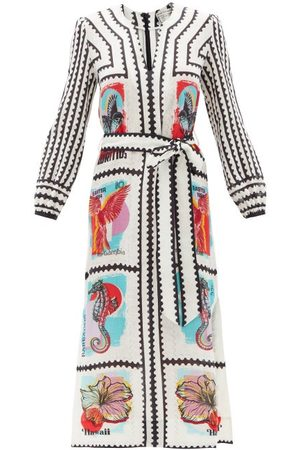 Mary Mare Women Printed Dresses - Firenza Belted Stamp-print Linen Midi Dress - Womens - Multi