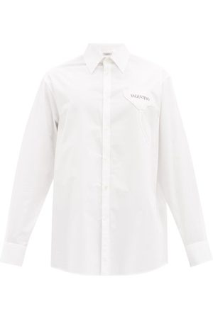 VALENTINO Garden-appliqué Cotton-poplin Shirt - Mens