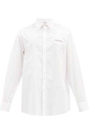 VALENTINO Men Shirts - Garden-appliqué Cotton-poplin Shirt - Mens