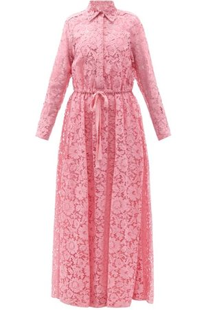 VALENTINO Women Casual Dresses - Drawstring-waist Floral-lace Shirt Gown - Womens