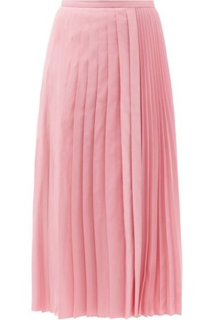 VALENTINO Pleated Cotton-blend Faille Skirt - Womens