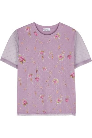 RED Valentino Women T-shirts - Lilac floral-print cotton and point d'esprit T-shirt