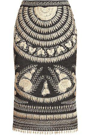 Ralph Lauren Women's Embroidered Silk Pencil Skirt - - Size Medium