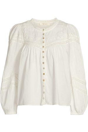 LOVESHACKFANCY Women's Doily Victorian Badyn Cotton Blouse - True - Size Medium