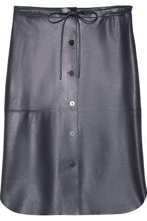 THEORY Men's Button-Front Lamb Leather Skirt - Deep Navy - Size XS