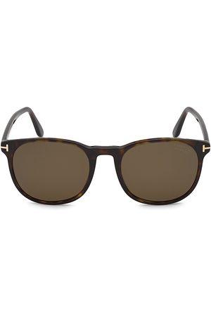 Tom Ford Men's Ansel 51MM Plastic Round Sunglasses - Classic Dark Havana