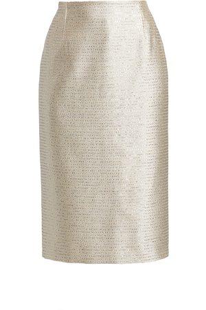 Oscar de la Renta Women's Sequin Tweed Classic Pencil Skirt - - Size 6