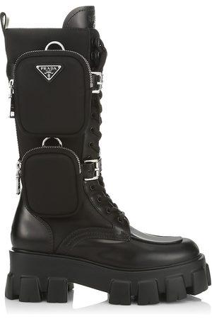 Prada Women's Monolith Leather & Nylon Tall Combat Boots - Nero - Size 10